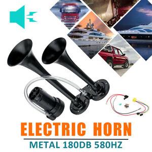 180db-Dual-Loud-Trumpet-Boat-Truck-Air-Horn-Car-12V-Black-Universal-Auto