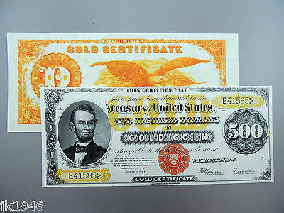 Reproduction $500 1922 Gold US Paper Money Currency Copy