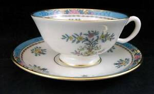 Lenox-BLUE-TREE-Cup-amp-Saucer-Gold-Backstamp-B300-GREAT-CONDITION