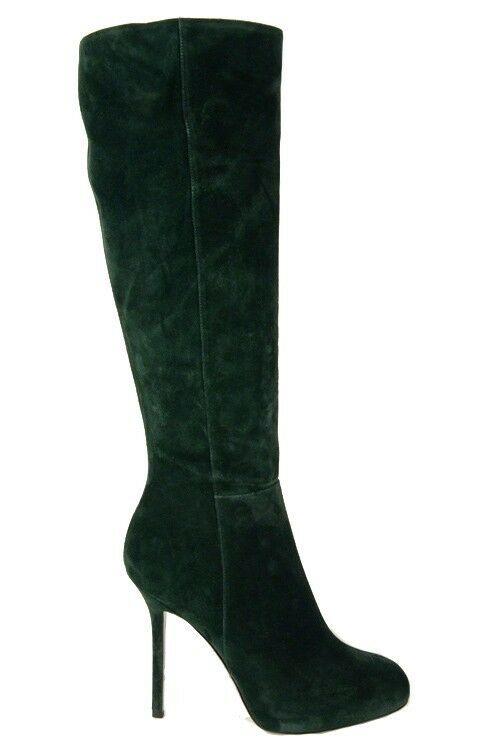 $1,295 SERGIO ROSSI TALL BOOTS BARBIE KNEE HIGH GREEN SUEDE LEATHER sz 8.5 9 9.5