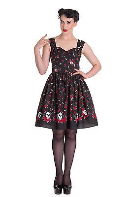 Hell Bunny Aconite Dress Skull Love Roses Bat Vintage Retro Punk Pinup 50s Party