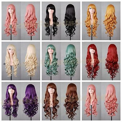 Fashion Women Lady Long Wavy Curly Hair Anime Cosplay Party Full Wig Wigs