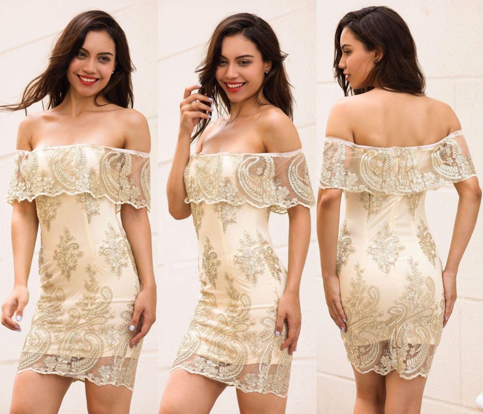 Abito ricamato Merletto Scollo Fascia Cerimonia Party Lace Embroidered Dress M