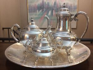 Holmes-amp-Edwards-silverplated-tea-set-Of-4-YOUTH-Series-1940s-With-Rogers-Tray