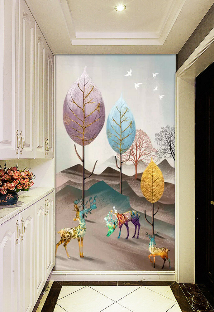3D Farbe Tree Deer 55 Wall Paper Exclusive MXY Wallpaper Mural Decal Indoor wall