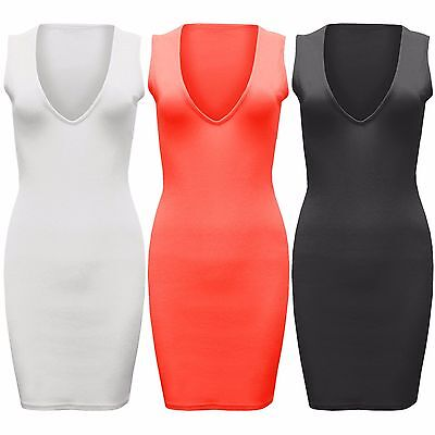 AnpassungsfäHig Ladies V-neck Mini Dress Crepe Womens Bodycon Sleeveless Plunge Front Top Summer Professionelles Design