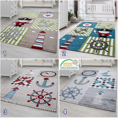 Boys Nursery Rug for Kids Nautical Theme Childrens Bedroom Carpet Baby Boy  Mats | eBay