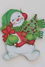 Darling Snowman * Christmas Ornament * Vintage Card Image * Glitter