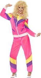 nuovo di zecca bade4 6c753 Dettagli su Da Donna Rosa Tuta con Fodera 1980s Tuta Anni 80 Moda Costume  Vestito