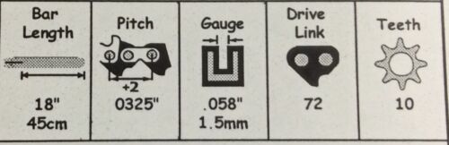 "18/"" Bar Chain COMBO 325-058-72DL Jonsered 2145 2150 2240 2245 2250 Baumr-AG SX45"