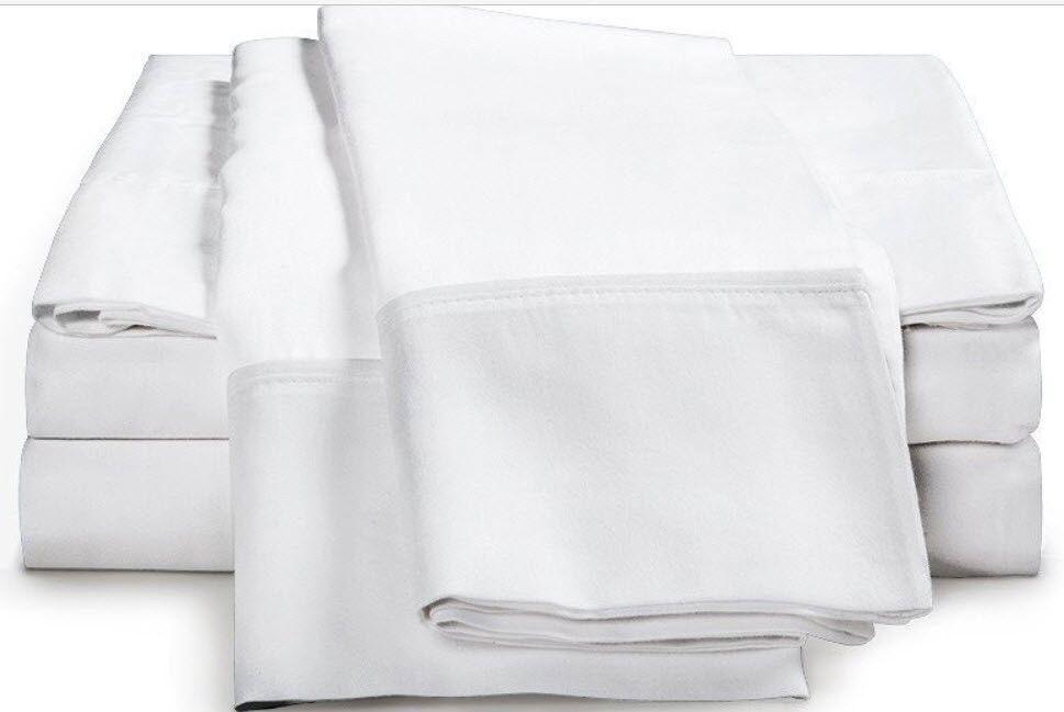 Luxor Impressions 100% Egyptian Cotton Sheet Set 800 TC  King  White NEW
