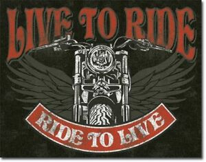 LIVE TO RIDE MOTORBIKE METAL TIN SIGN VINTAGE RETRO F.U.M. TOOLS FUM
