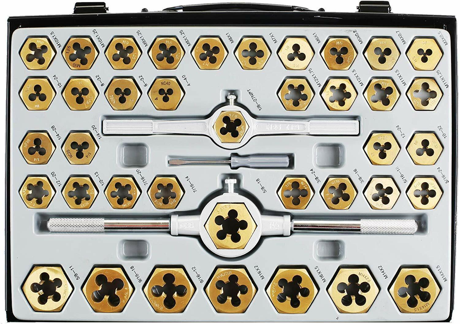 86pc Tap and Die Combination Set Tungsten Steel Titanium SAE AND METRIC Tools