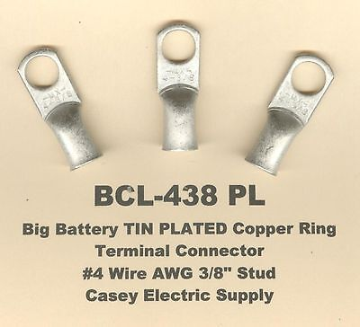 """20 TIN PLATED Copper Ring Lug Terminal Connector #4 Wire Gauge 3/8"""" Stud MOLEX"""