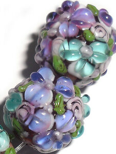 Lampwork-Glass-Flower-Beads-Raised-Petals-Purple-15-mm-4-Beads-a33ple