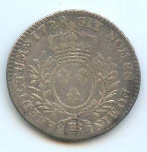 Louis XV (1715-1774) 1/2 ECU Of Branches D 'ol Olivier 1728 BB Strasbourg