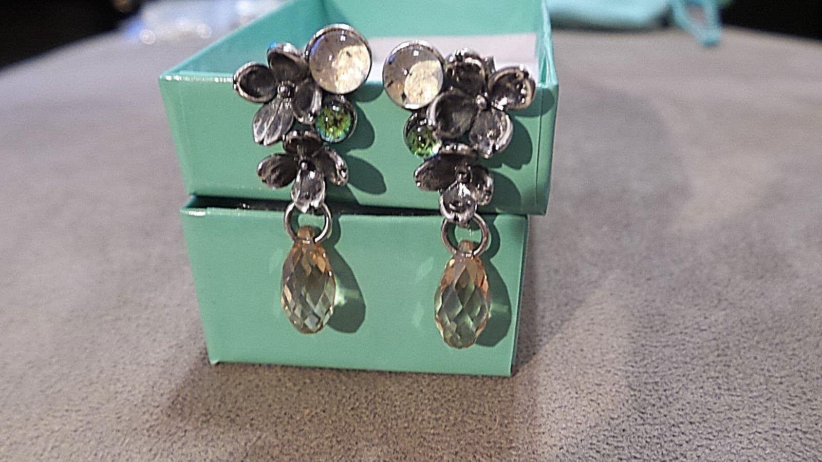 NWOT Authentic Trollbeads SS Asymmetrical Flowers Earrings TAGEA-00057 - LOOK