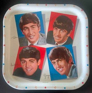 The Beatles Worcester Ware Platter Metal Tray With Sticker Label & Original Tag