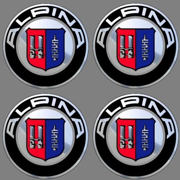 4 Adhésifs Sticker Noir Chrome Alpina De 40 à 100 Mm Pour Centre De Jantes Tecniche Moderne