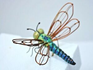 Copper-wing-Dragonfly-teal-green-body-flower-pot-accents-NEW-gift