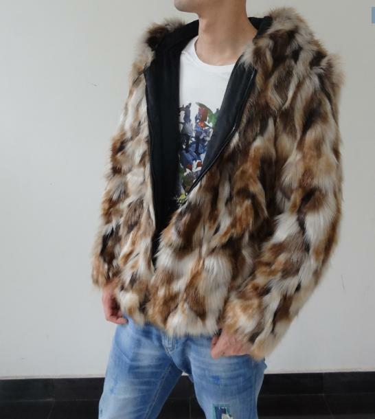 Mens Multi color Real Fur Hooded Slim S-6xl Parka Zipper Warm Overcoat Furry new