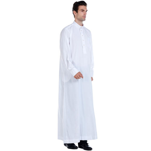 Muslim Saudi Arab Mens Robe Prayer Thobe Dishdasha Kaftan Islamic Jubba Clothing
