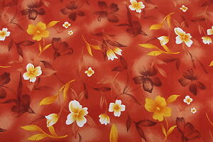 """6 Yards x 44"""" Wide Hawaiian-Style Print Fabric Polyester Orange Floral Material"""