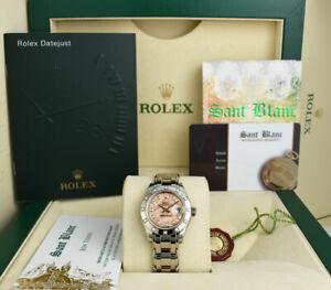 ROLEX Ladies White Gold MASTERPIECE Pink Gold Crystal Diamond 80319 SANT BLANC