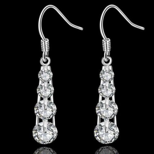 Hot 925 Sterling Argent Massif Bijoux 4 cristal Dangle Boucles d/'oreilles pour femmes E574