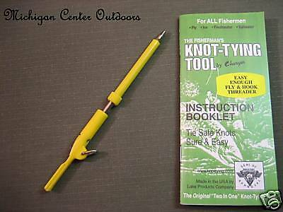 The Fishermans Knot Tying Tool NEW w// Fly Hook Threader /& Fishing Knots Booklet