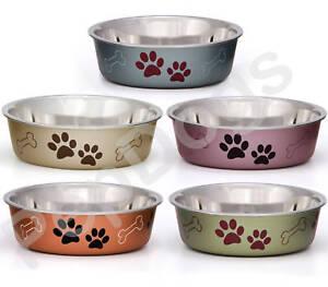 STAINLESS-STEEL-Non-Skid-Bella-Dog-Puppy-Designer-Bowl