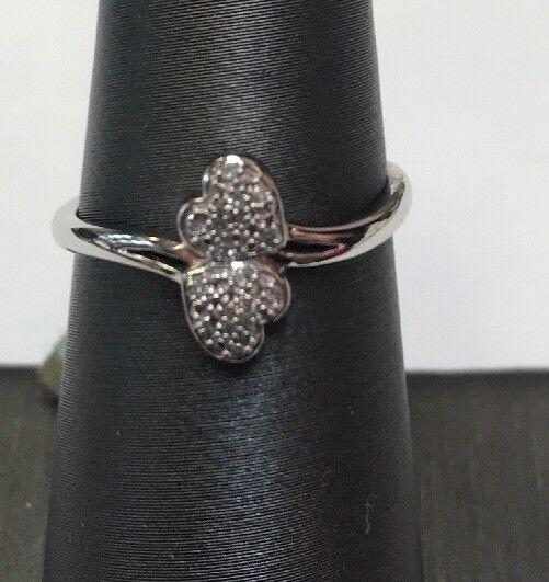 10K REAL WHITE gold Women's REAL Diamond Double Heart RING   SZ 6-3 4   1.7gr