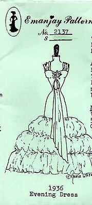 1:12 scale Emanjay Dollhouse Doll Clothes pattern #3008George III Wed Gown uncut