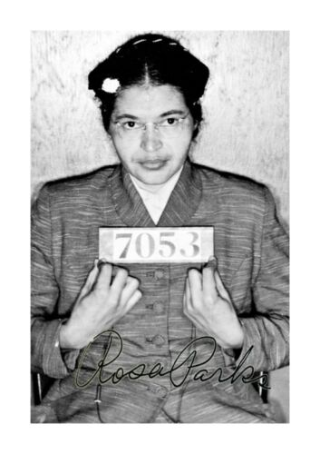 Rosa Parks Mug Shot A4 reproduction signed photograph poster choice of frame