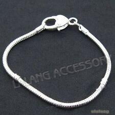 1pcs Silver Plated Heart Copper Snake Chain Bracelet 20cm Fit European Charms L