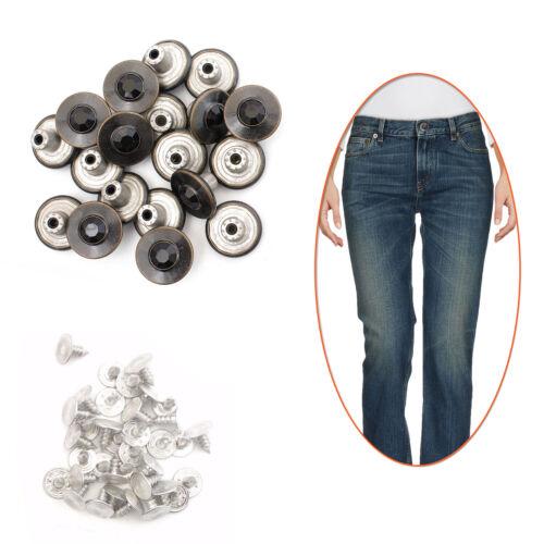 Reemplazo de 17mm Hammer Botón Negro Diamante de Imitación en los pantalones vaqueros con chaqueta vaquera Pin