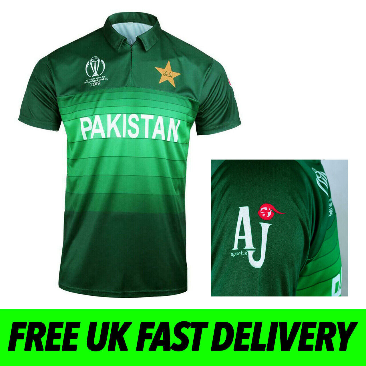 Kids Youth Pakistan National Team Cricket Style Flag Supporters Jersey T-shirt