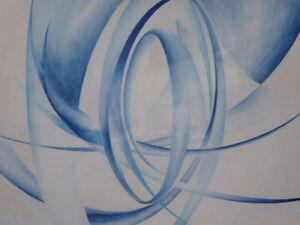 Aquarelle bleu concentriques énumérés artiste Lyndon Thomas 1965 livraison gratuite-afficher le titre d`origine