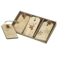Set of 6 Natural & Glitter Wood Stag & Star Tags Xmas Tree Decorations 13x8cm