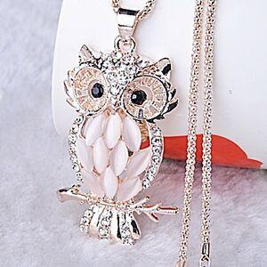 Retro-Damen-Kristall-Eulen-Anhaenger-Halskette-Lange-Eulenkette-Modeschmuck-Owl