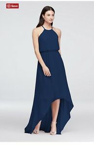 Chiffon Halter Bridesmaid Dress Marine