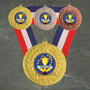 Sports-Day-Medal-amp-Ribbon-Free-Engraving-School-Sports-Day-Trophy-Award-Event