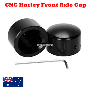 Black-Front-Axle-Nut-Cover-Cap-Harley-Softail-Sportster-Dyna-Road-King-vrod-king