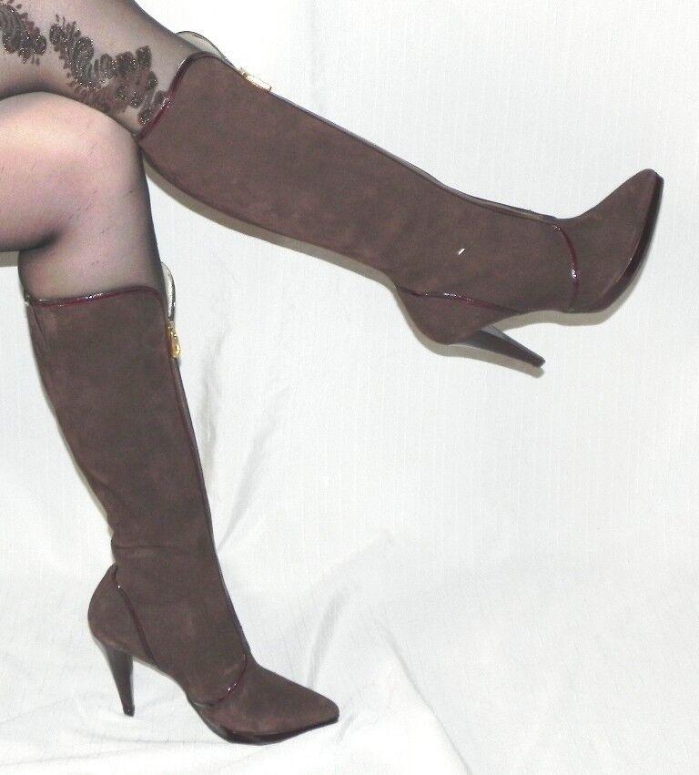 Elegante Wild botas de cuero marrón oscuro