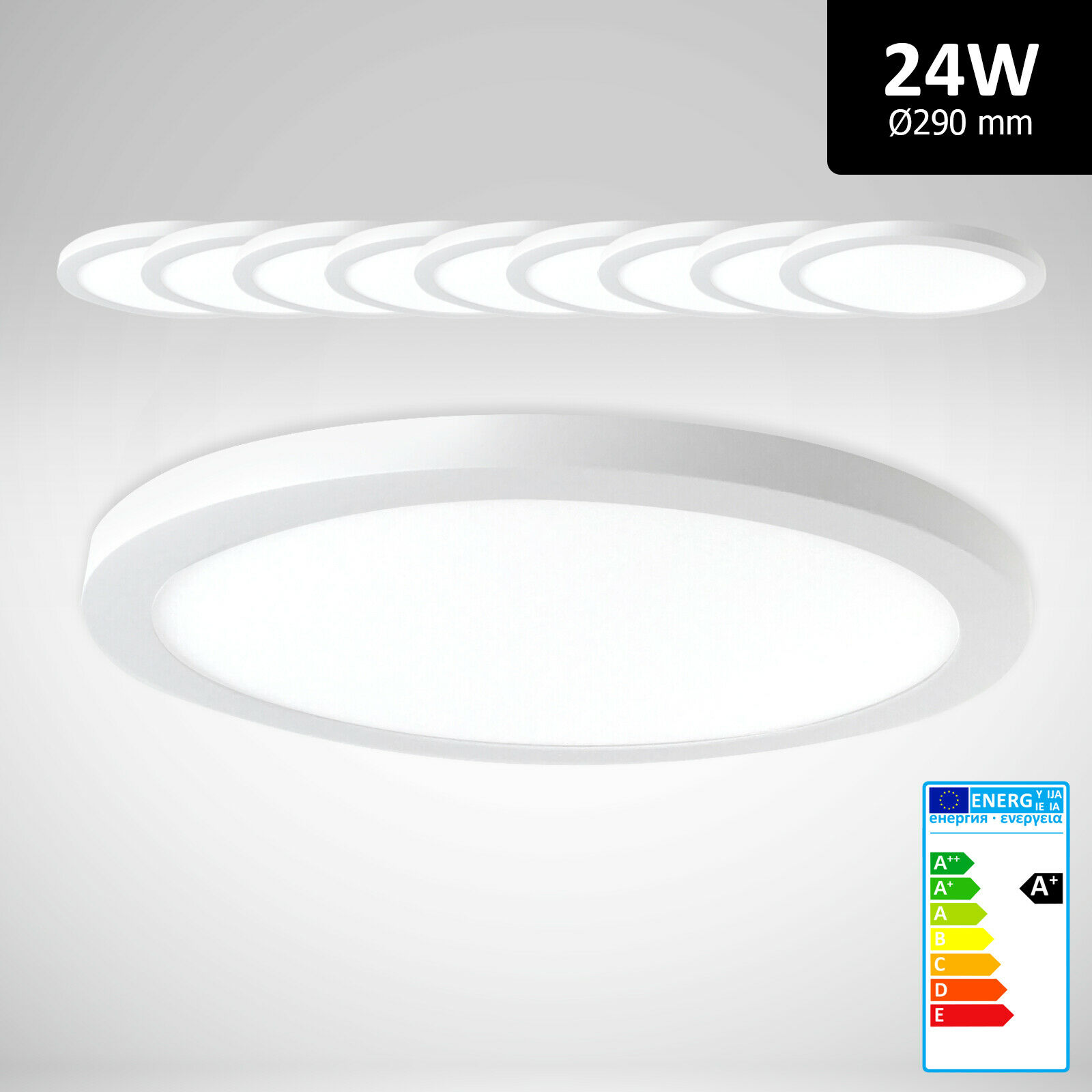 10x LED Deckenlampe dimmbar rund 24W kaltweiß 6000K Deckenleuchte Aufputz PLm4