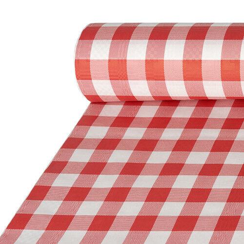 Tischläufer Damastprägung Vichy Karo Rot Weiß 50mx1m Oktoberfest Hüttenzauber