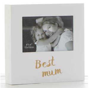 """Best Mum Photo carrée blanche Cadre en Bois 10x15cm 6/""""x4/"""" Mères Jour Cadeau"""