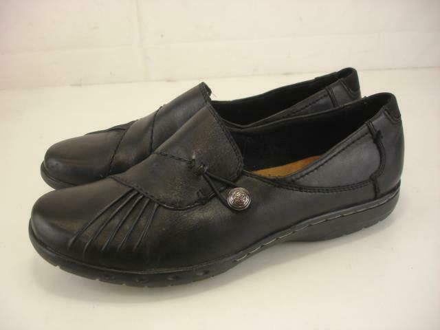 Women's 9 W Cobb Hill Paulette Black Leather Shoes Comfort Loafers Slip-On Wedge