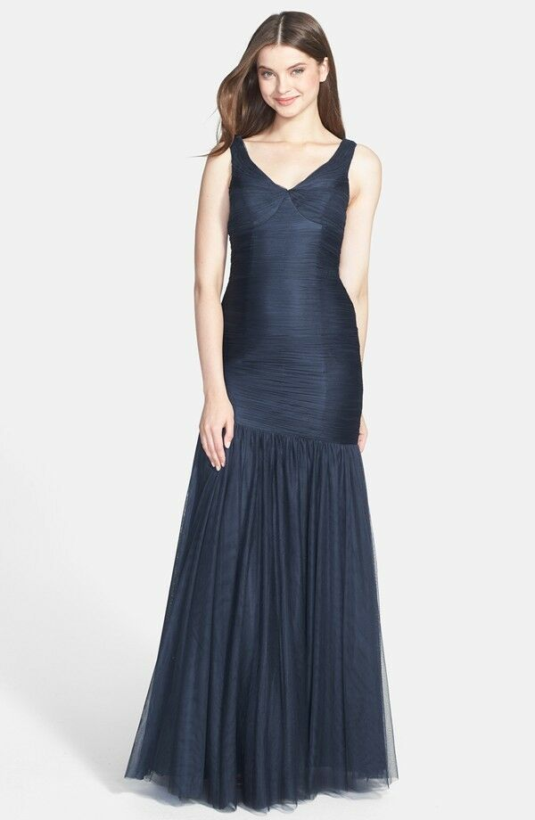 400 Monique Lhuillier Bridesmaids Tulle Trumpet Dress Gown Prom Wedding Slate