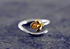 Silberring Blumen Ring Silber 925 Verstellbar Damen Schmuck Damenringe